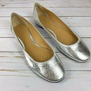 BP Frankie Womens Shoes 9M Silver Metallic Ballet